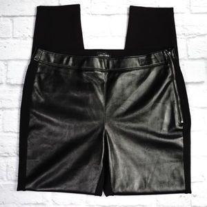 WHBM Faux Leather Front/Trim Leggings Black 12